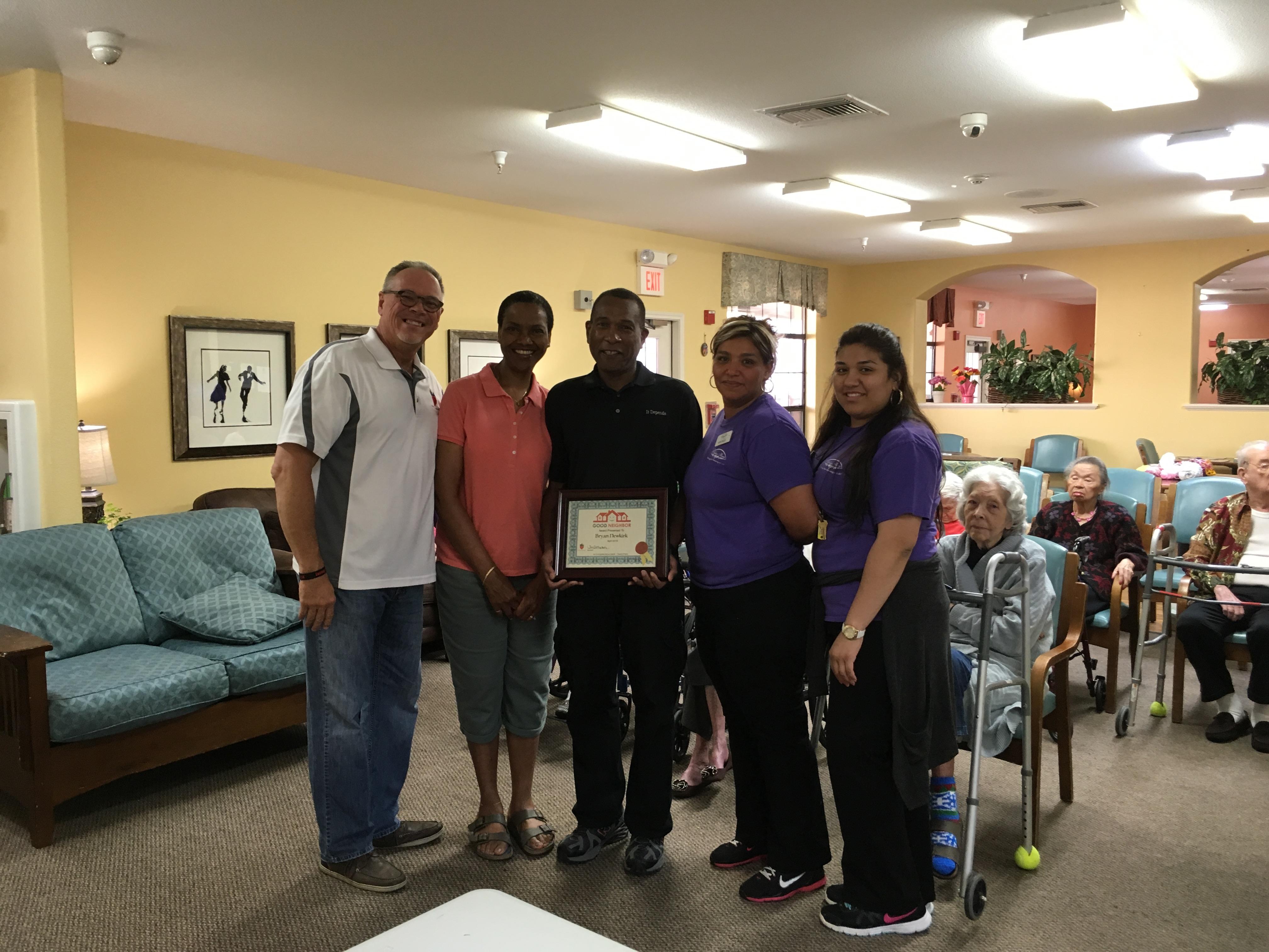 Bryan Newkirk Recipient of April 2016 Good Neighbor Award