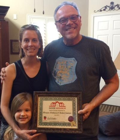 Shaun, Melissa & Arden James Recipients of Good Neighbor Award
