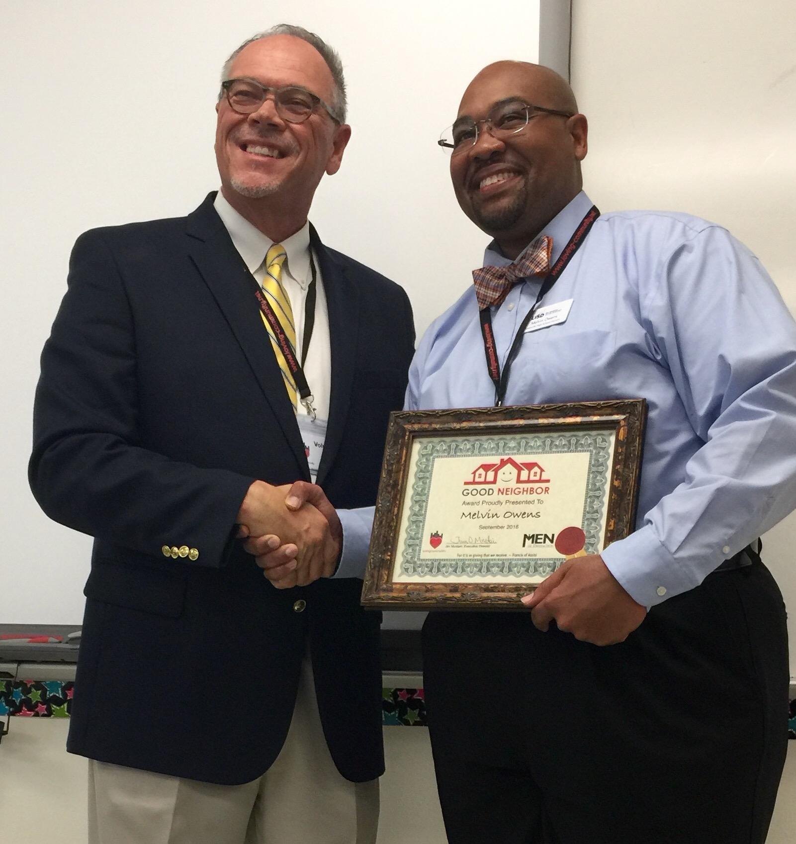 Melvin Owens Recipient of September 2016 Good Neighbor Award