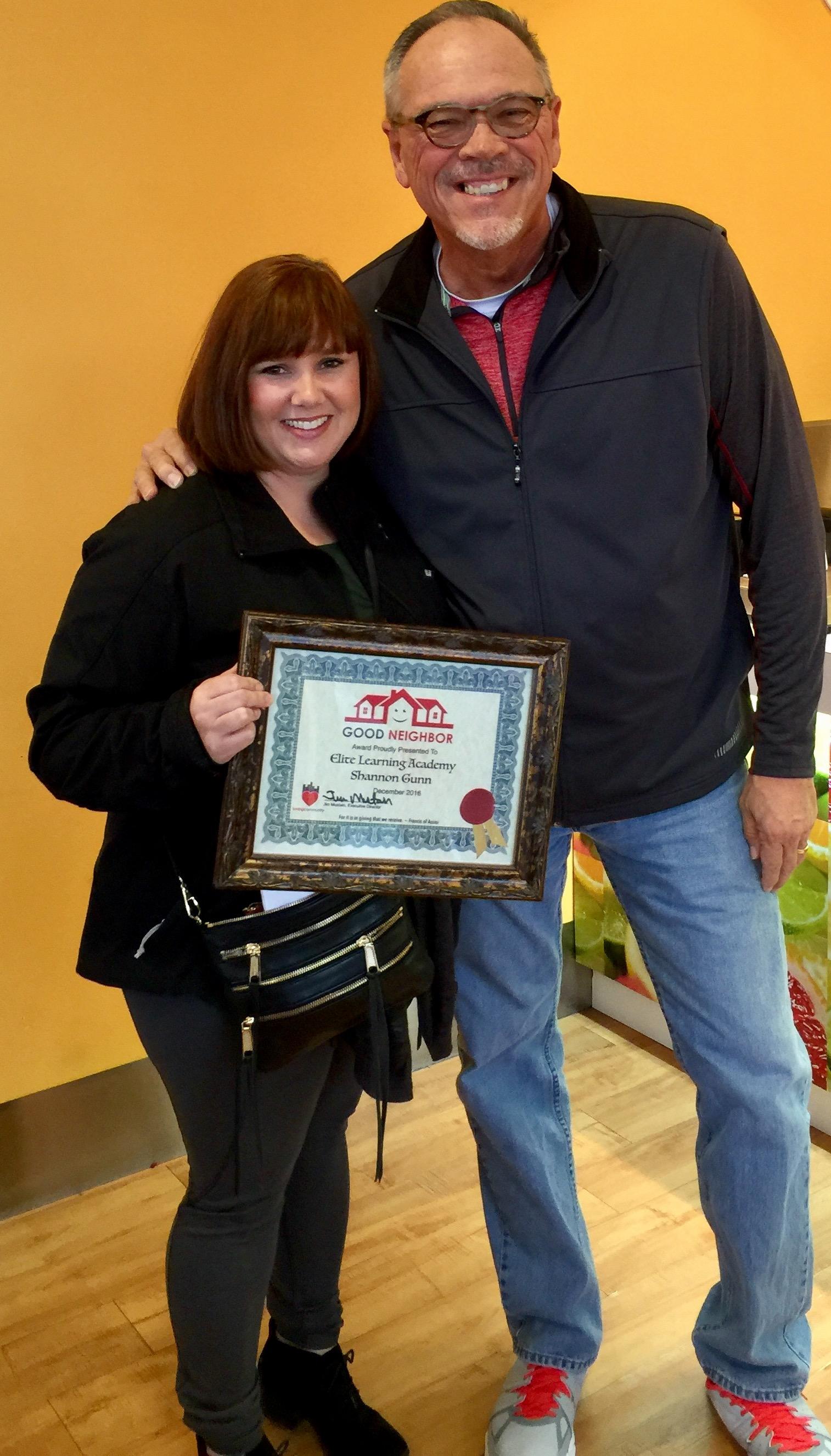 Elite Learning Academy and Founder Shannon Gunn Recipient of December Good Neighbor Award