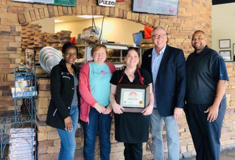 Jennifer Grimes and Marcos Pizza Recipient of Good Neighbor Award