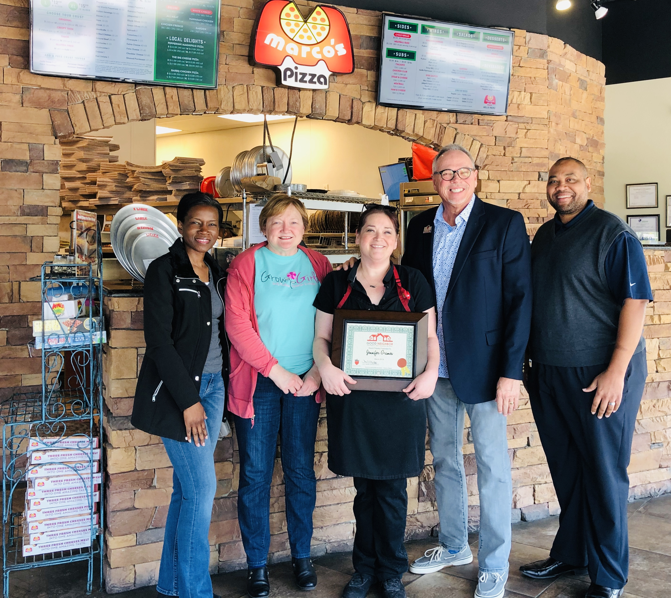 Jennifer Grimes and Marcos Pizza Recipient of Good Neighbor Award